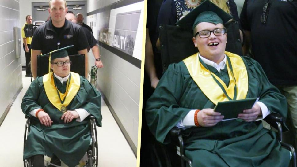 Teen graduating with hospital transport