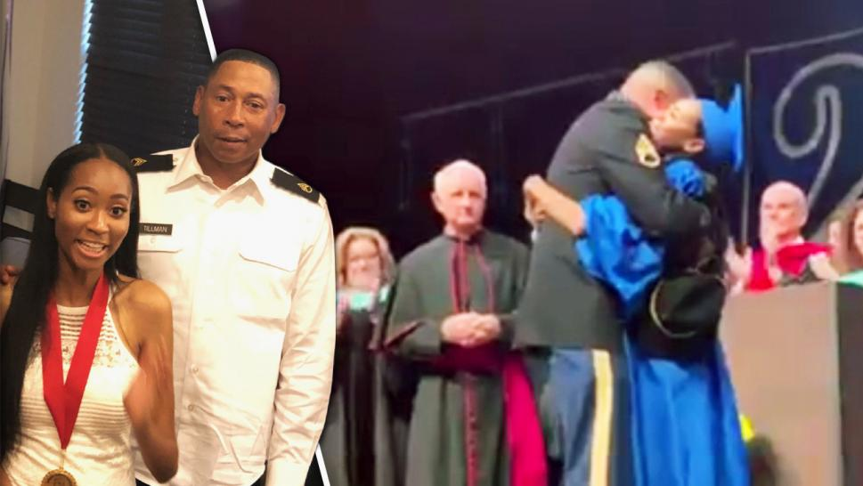 Military Dad Surprises Daughter at Graduation Ceremony