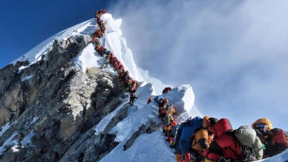 Crowds on Mt. Everest