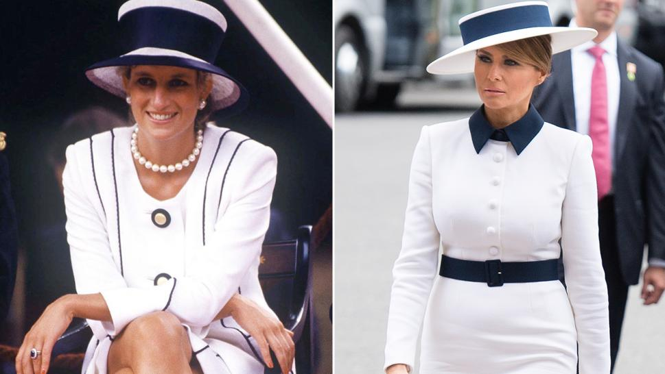 Princess Diana (left) and Melania Trump (right) in 1995 and 2019 respectively.