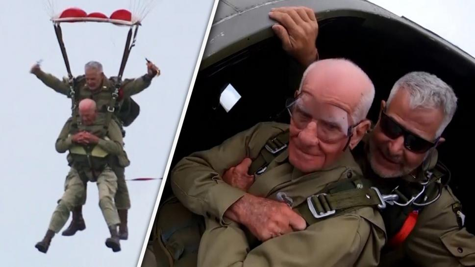 Veteran jumping from an airplane