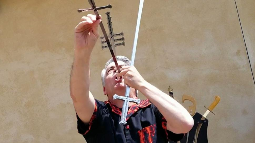 Brad Byers, 59, is known for his sword-swallowing abilities.