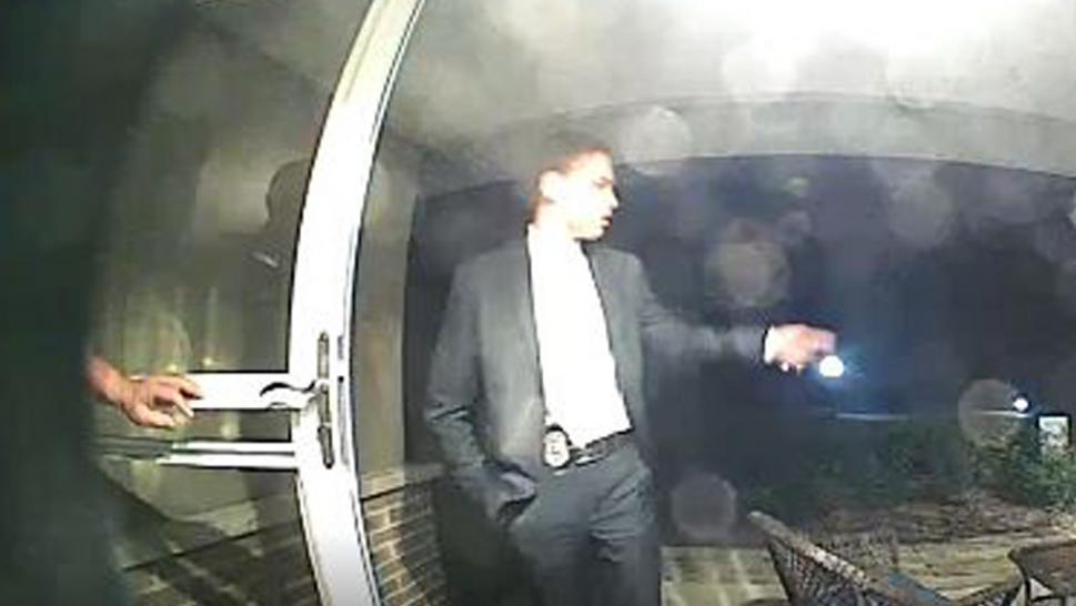 Surveillance footage captured by a West Chicago house's doorbell camera showed a man wearing a suit and a badge ring the bell of the home late Tuesday, the DuPage County Sheriff's Office said.