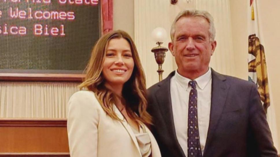 Biel appeared in Sacramento, California, with Robert F. Kennedy Jr. to lobby against a California vaccination bill that limits medical exemptions this week.