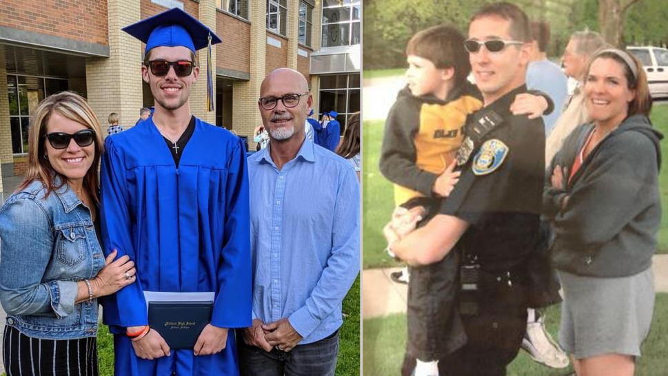 Micah Schieber was honored by police officers who served with his late father.
