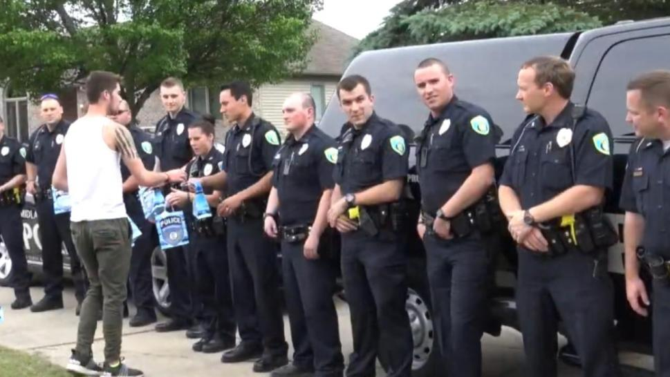 Police officers at graduation