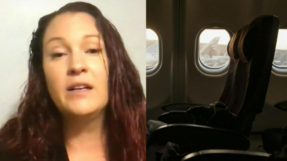 Woman stuck on plane