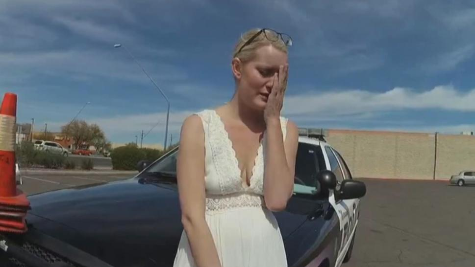 This woman allegedly faked her wedding day rush after being pulled over by cops.