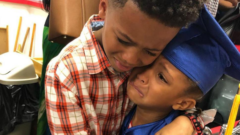 Big Brother Gets Extremely Emotional Over Kid Sister's Pre-K Graduation