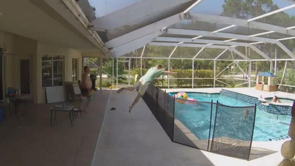 'Superdad' Dives Over Fence and Into Pool to Rescue Son