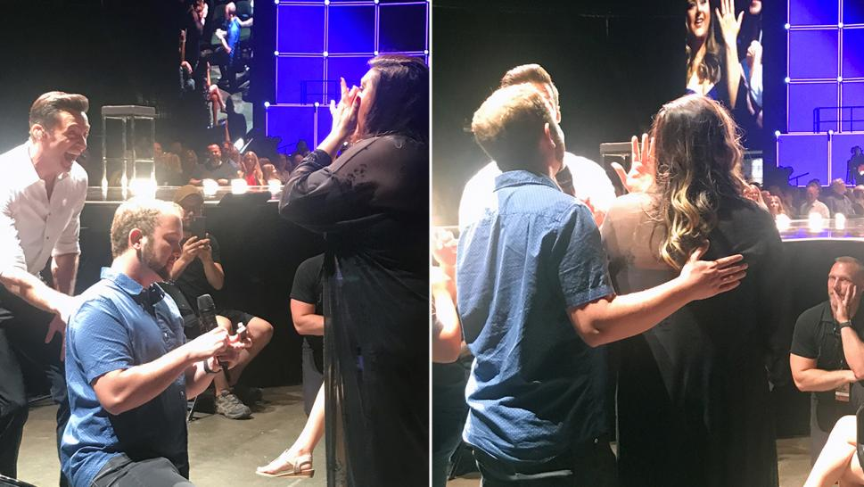 Hugh Jackman stopped his recent show to help a man propose to his now-fiancee.