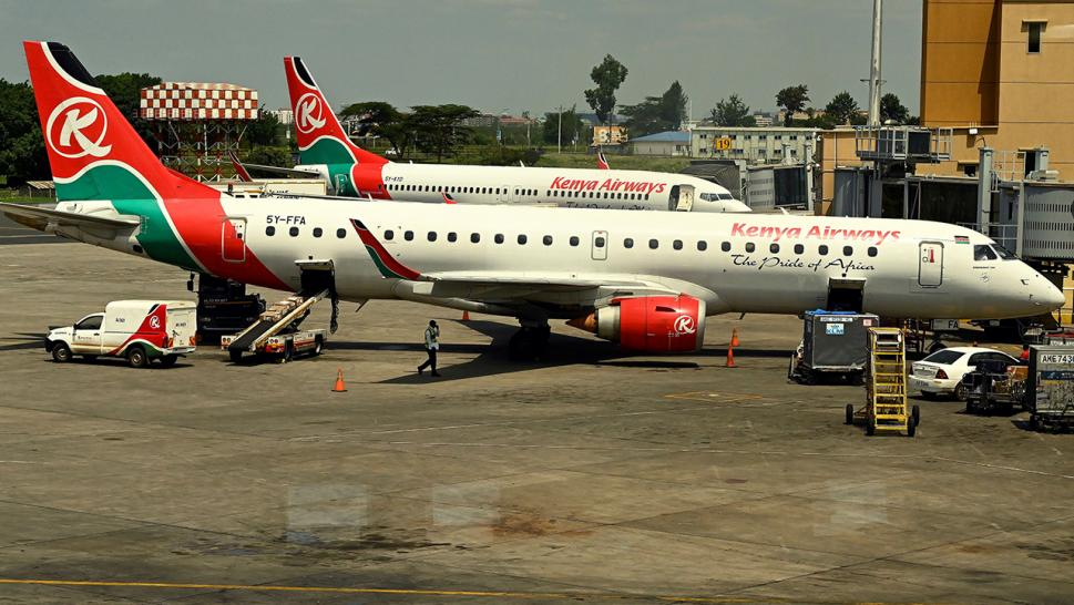 Kenya Airways planes parked in Nairobi.