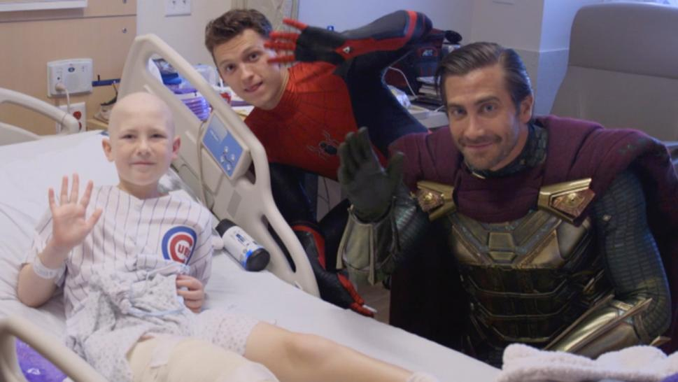 "Tom Holland and Jake Gyllenhaal visited kids in the hospital in their ""Spider-Man"" costumes."