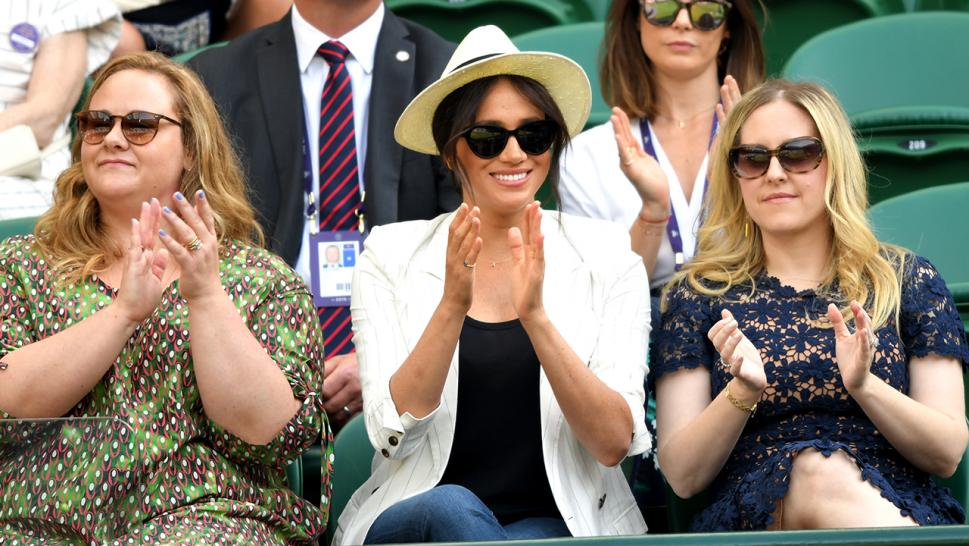 Meghan Markle watches friend Serena Williams play at Wimbledon.