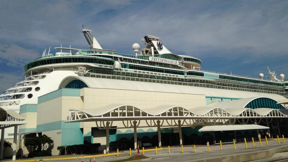 The Royal Caribbean's Freedom of the Seas is pictured here in Port Canaveral, Florida.