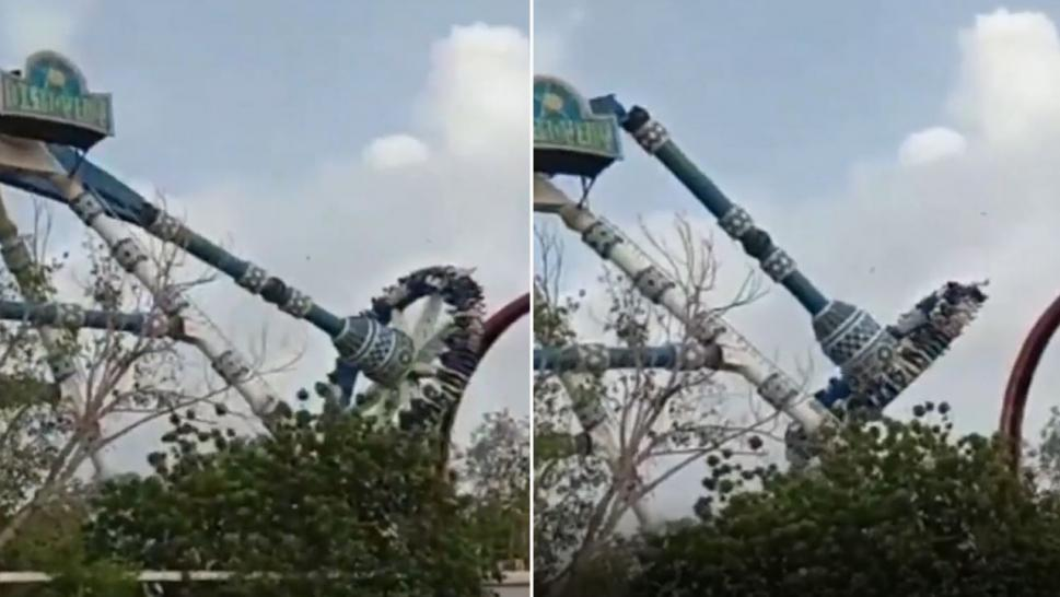 Theme park ride snaps in India