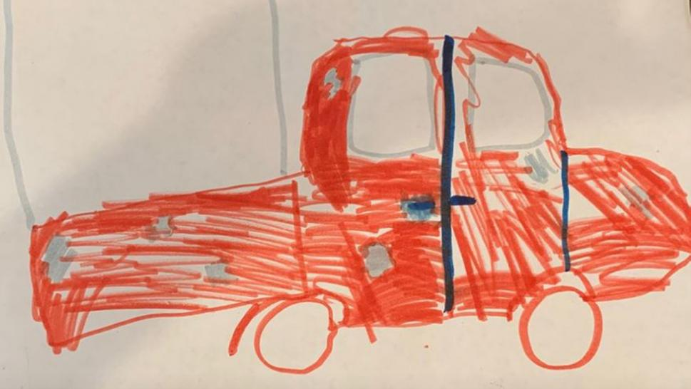 A little girl drew this wanted poster of truck in porch pirate thefts.
