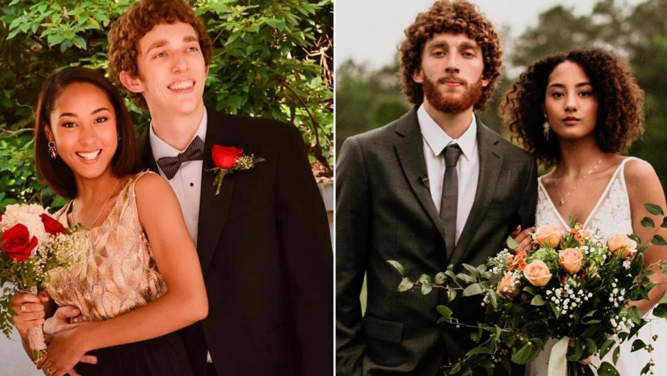 Couple Posts Prom and Wedding Photos Side by Side