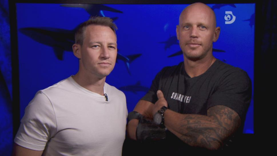 """Sharkwrecked: Crash Landing"" sees hosts Paul de Gelder and James Glancy dropped into the Pacific Ocean to face sharks."