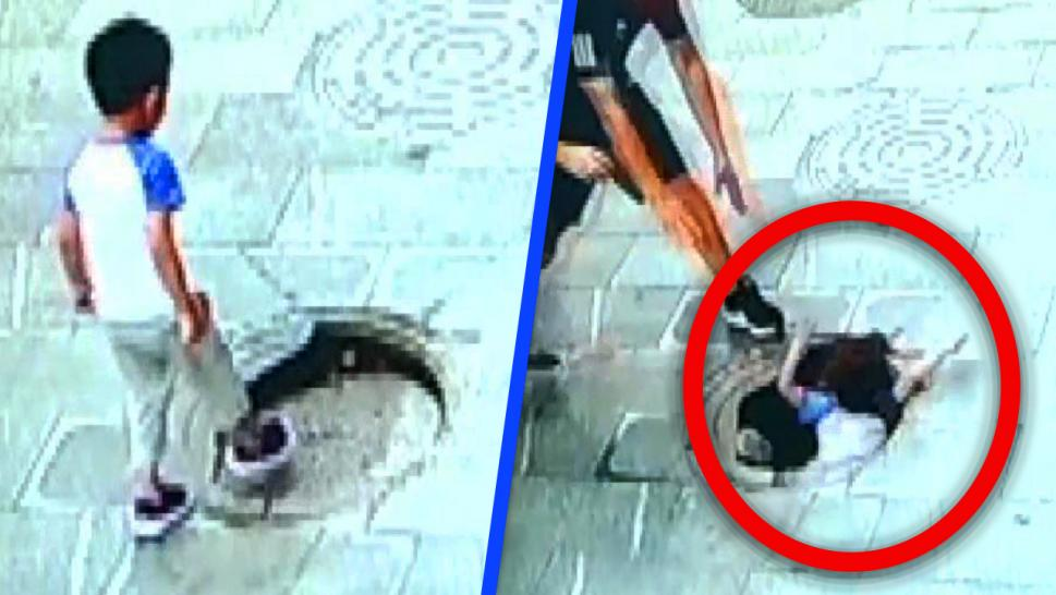 Child falling in manhole