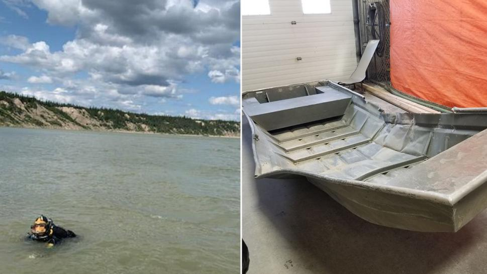 A dive team was dispatched to search the Nelson River near the Manitoba town of Gillam after officers in a helicopter Friday spotted an aluminum rowboat on the shore, Royal Canadian Mounted Police said.