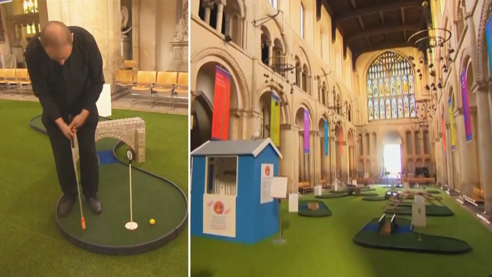 Mini golf inside a cathedral