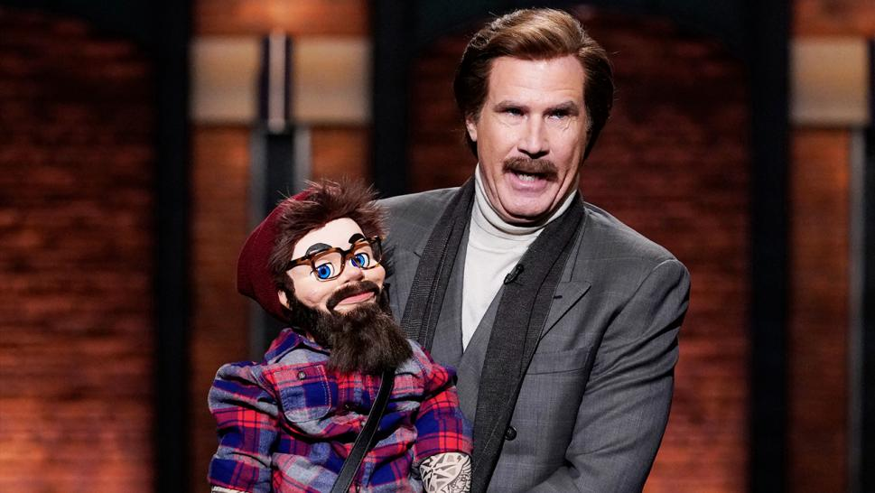 Will Ferrell appeared as Ron Burgundy in late night television shows Thursday to promote his podcast.