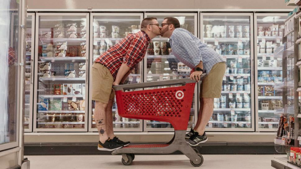 Aaron Damron, 29, and his partner, 31-year-old Tony DiPasqua, snapped their engagement pictures at Target.