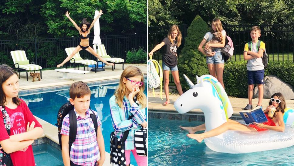 Leslie Brooks, 44, celebrates sending her kids back to school after a busy summer in hilarious annual photos.