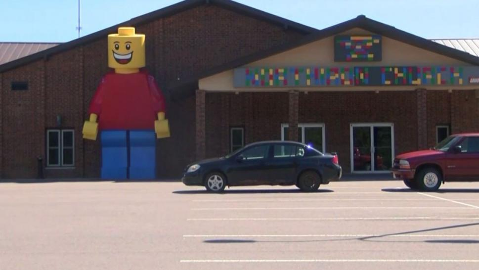 The NORTHIRON Church in Ishpeming built a massive Lego man to advertise their annual movie series, which combines films with the Bible.