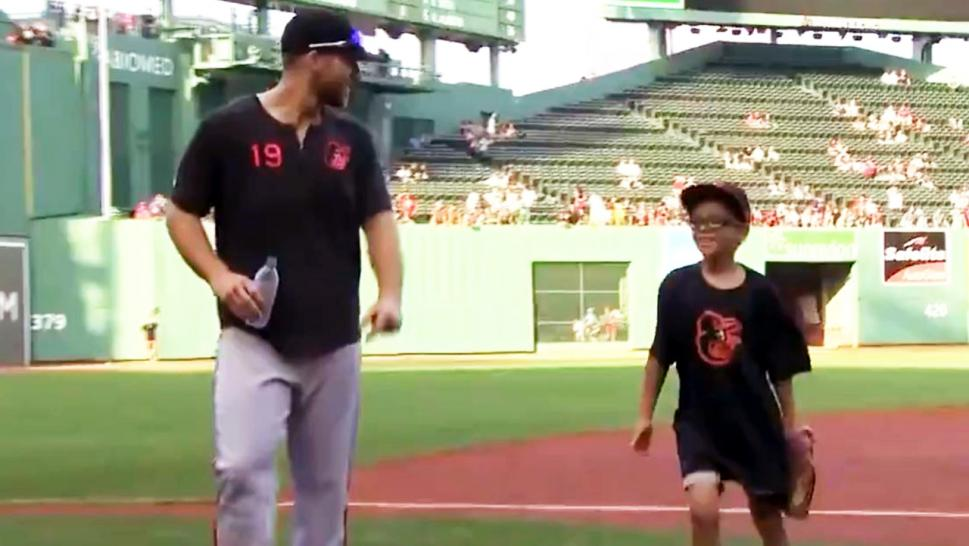 Henry Frasca, 9, had a chance to meet MLB player Chris Davis after writing him a letter of encouragement.