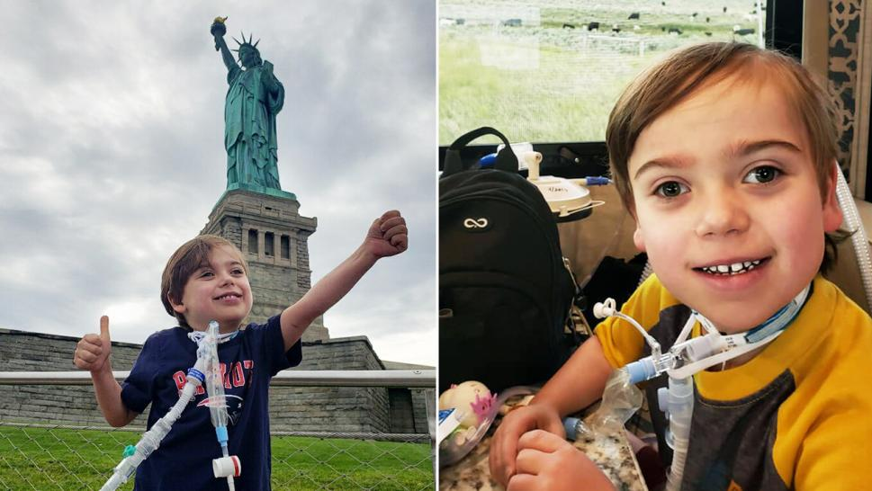 Four-year-old Noah enjoys the sights as he travels from Seattle to Boston for his heart surgery.