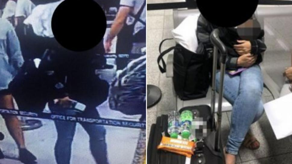An American woman was stopped with a baby in her carry-on luggage in the Philippines.