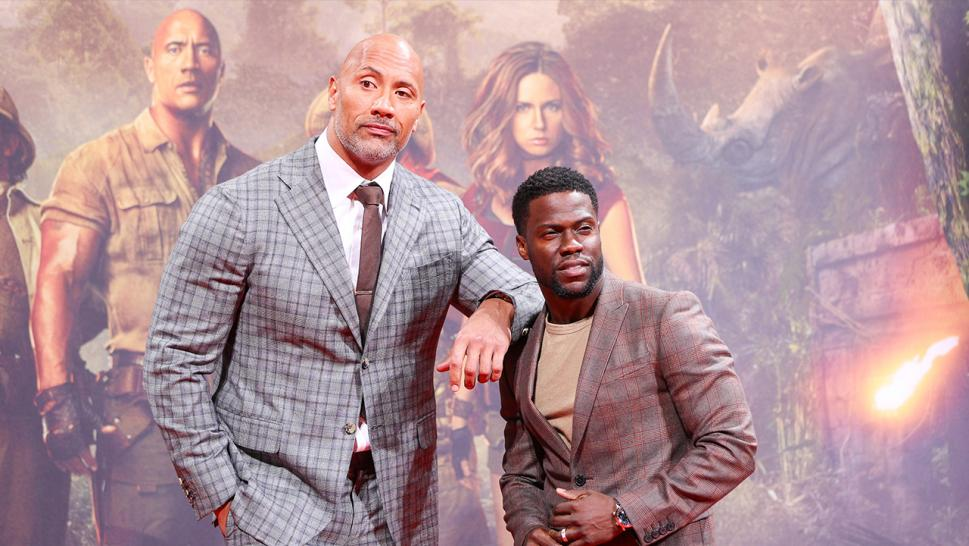 The Rock couldn't help but joke about friend Kevin Hart when giving an update on his recovery after a car crash.