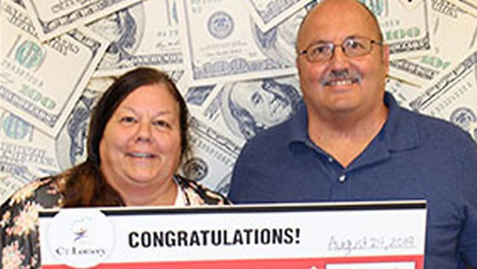 Last month, Frank Laquitara and Debbie Long-Combs were headed to Old Dominion when they realized they had the six-figure ticket in their vehicle.