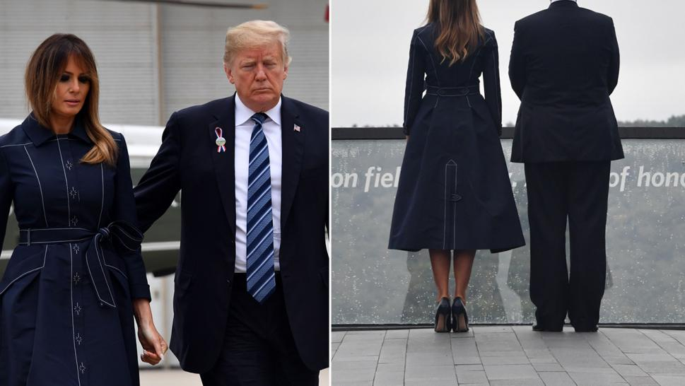 Some say Melania Trump's coat for a 9/11 tribute appears to show a plane flying into a tower.