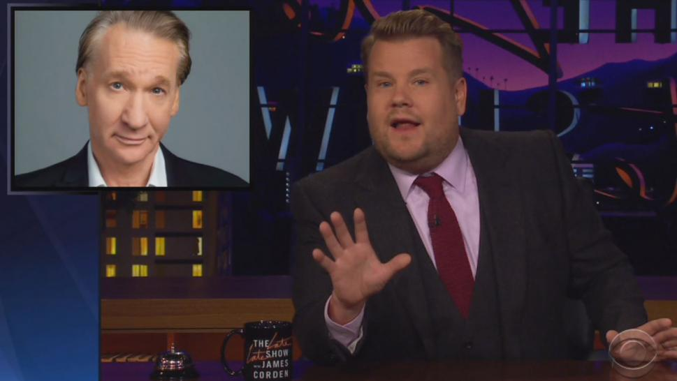 """We're not all as lucky as Bill Maher. We don't all have a sense of superiority that burns 35,000 calories a day,"" Corden said Thursday night on his show."
