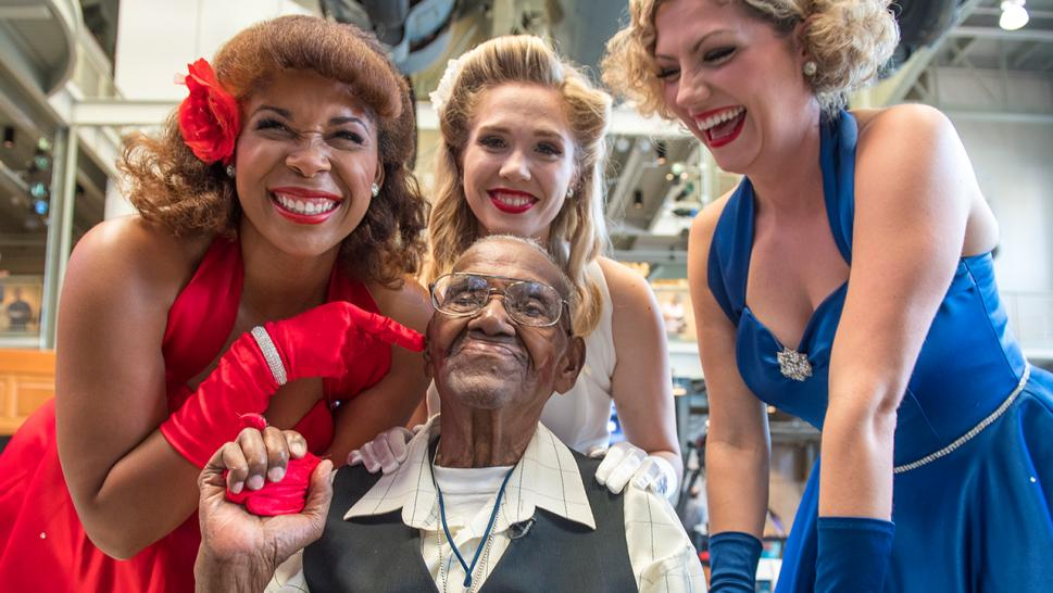 110-year-old Lawrence Brooks is serenaded during his birthday celebrations.