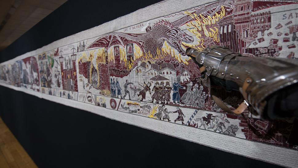 "A ""Game of Thrones"" tapestry modeled after the Bayeux Tapestry."
