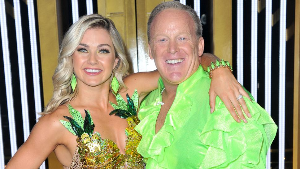 "Sean Spicer poses with his ""Dancing With the Stars"" partner, Lindsay Arnold."