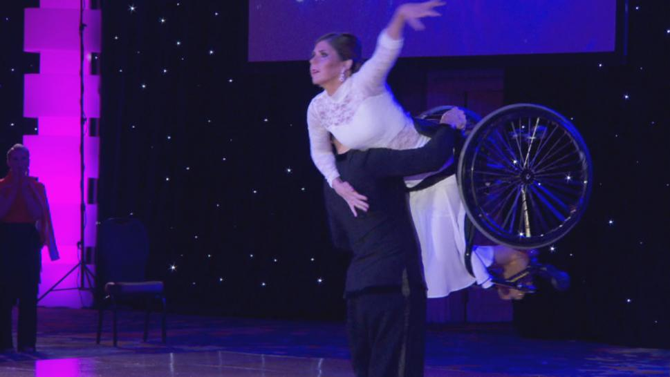 Cheryl Angelelli may be paralyzed from the chest down, but she doesn't let it stop her from shining on the dance floor.