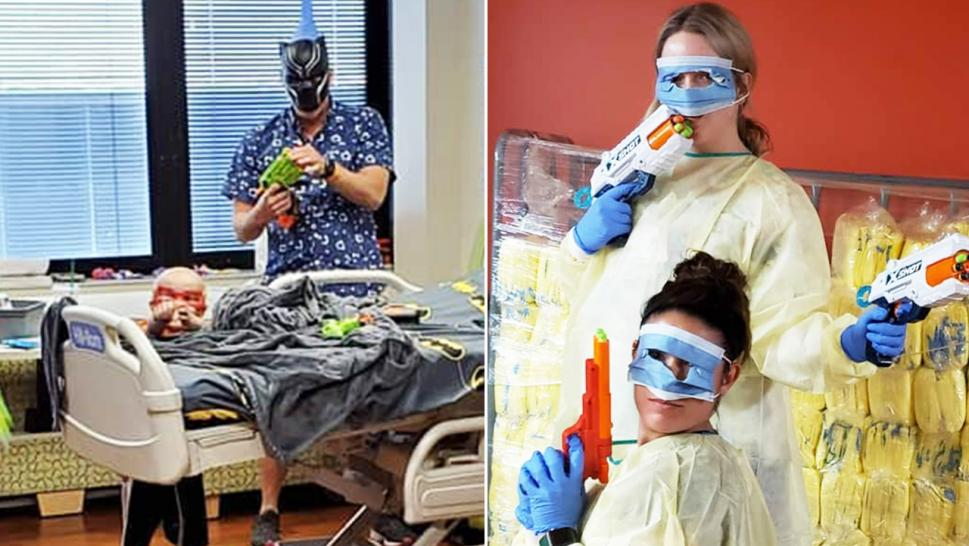 Drew, 5, and his dad challenge two nurses to a Nerf gun battle.