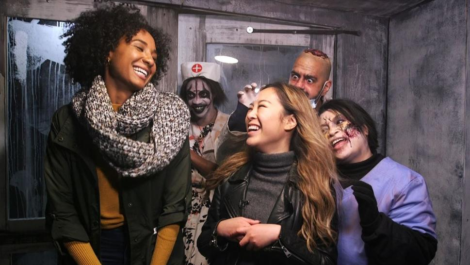 InsideEdition.com's Johanna Li and Maya Chung visit a haunted attraction in Rye, New York.