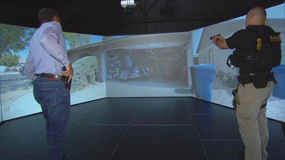 Inside Edition went to an officer training simulation center in Monmouth, New Jersey, called the Situational Training and Response Simulator where life-size screens project real-life situations to cops in training.
