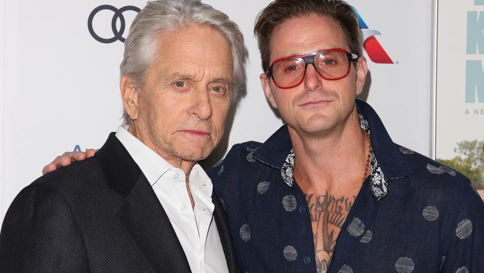 Michael Douglas poses with his son Cameron Douglas in 2018.