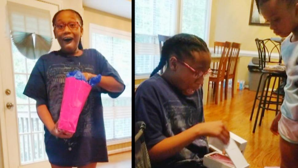 Girl surprised with iPhone