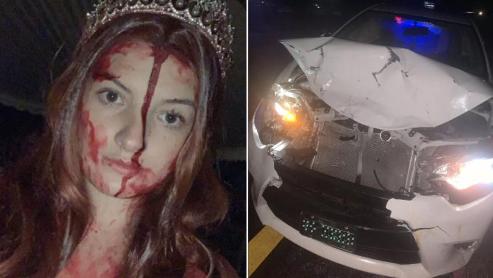 Local girl totals auto dressed as Carrie