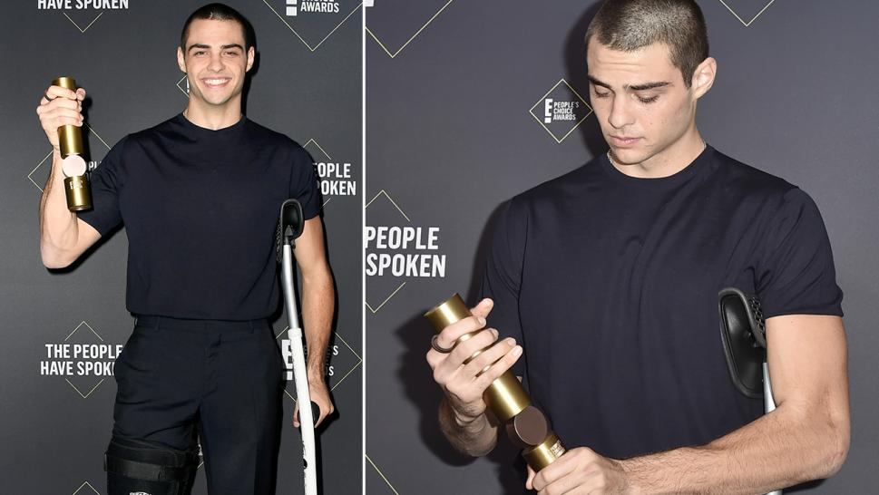Actor Noah Centineo appeared at the 2019 People's Choice Awards in a crutch and knee brace, following a basketball accident.