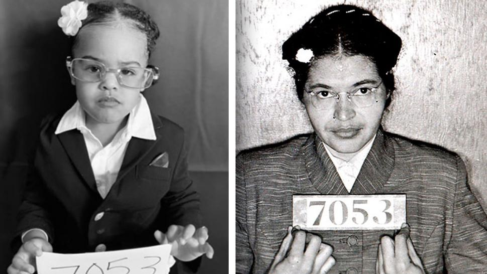 A toddler dresses up as Rosa Parks