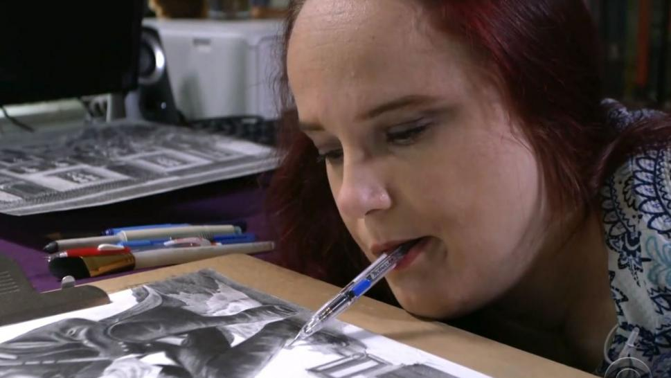 Born with a rare defect, 38-year-old Jessica Jewett is a quadriplegic who creates paintings, portraits and fine art with her mouth.